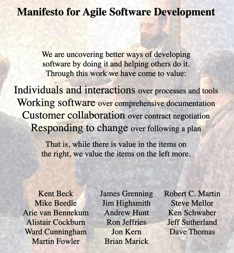 The Manifesto for Agile Software Development lists four values: Individuals over interfactions, working software over comprehensive documenation, customer collaboration over contract negotiation, and responsing to change over following a plan.